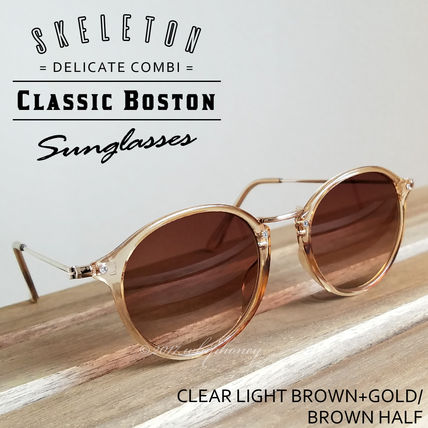 Roundbostonculiaframe metal duo glasses Brown