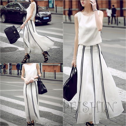 Camisole & long skirt-to-pieces dress Maxi white