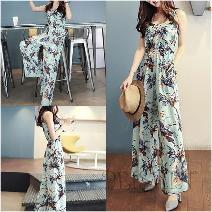 Floral wide pants j all-in-one Setup Culottes
