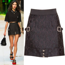 17SS DG961 LOOK73 JACQUARD MINI SKIRT WITH JEWELY DECORATION