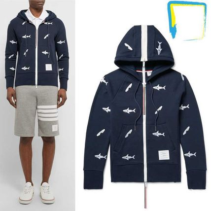 THOM BROWNE shark embroidered cotton parka