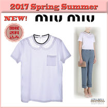 ★送料関税込★17春夏 MIU MIU cotton shirt with lace detail