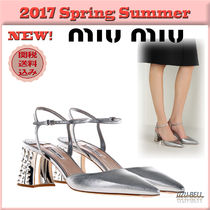 ★送料関税込★17春夏 MIU MIU madras leather slingbacks