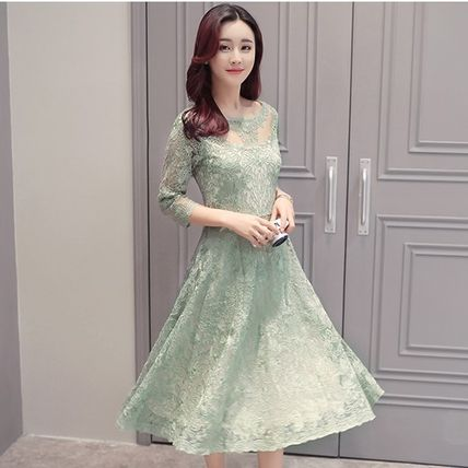 Total lace see-through floral 7 sleeve mid-length dresses