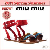 ★送料関税込★17春夏 MIU MIU leather and satin flat sandals