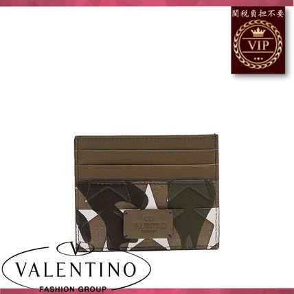 VALENTINO カードケース・名刺入れ ★2017新作★Camouflage-print leather and canvas cardholder