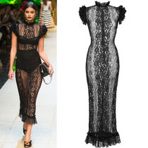 17SS DG972 LOOK12 SHEER LACE MIDI DRESS