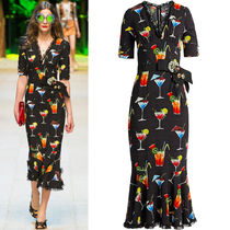 17SS DG973 LOOK86 COCKTAIL PRINTED CADY DRESS WITH BIJOUX