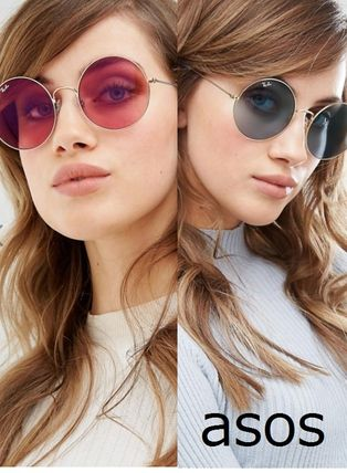 (Ray Ban)Oversized Round Blue/pink Sunglasses