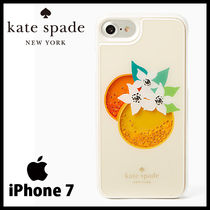 kate spade☆ ビーズが揺れる♪ オレンジ柄 iPhoneケース(7用)