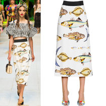 17SS DG974 LOOK68 FISH PRINTED SKIRT WITH JEWELY DECORATION