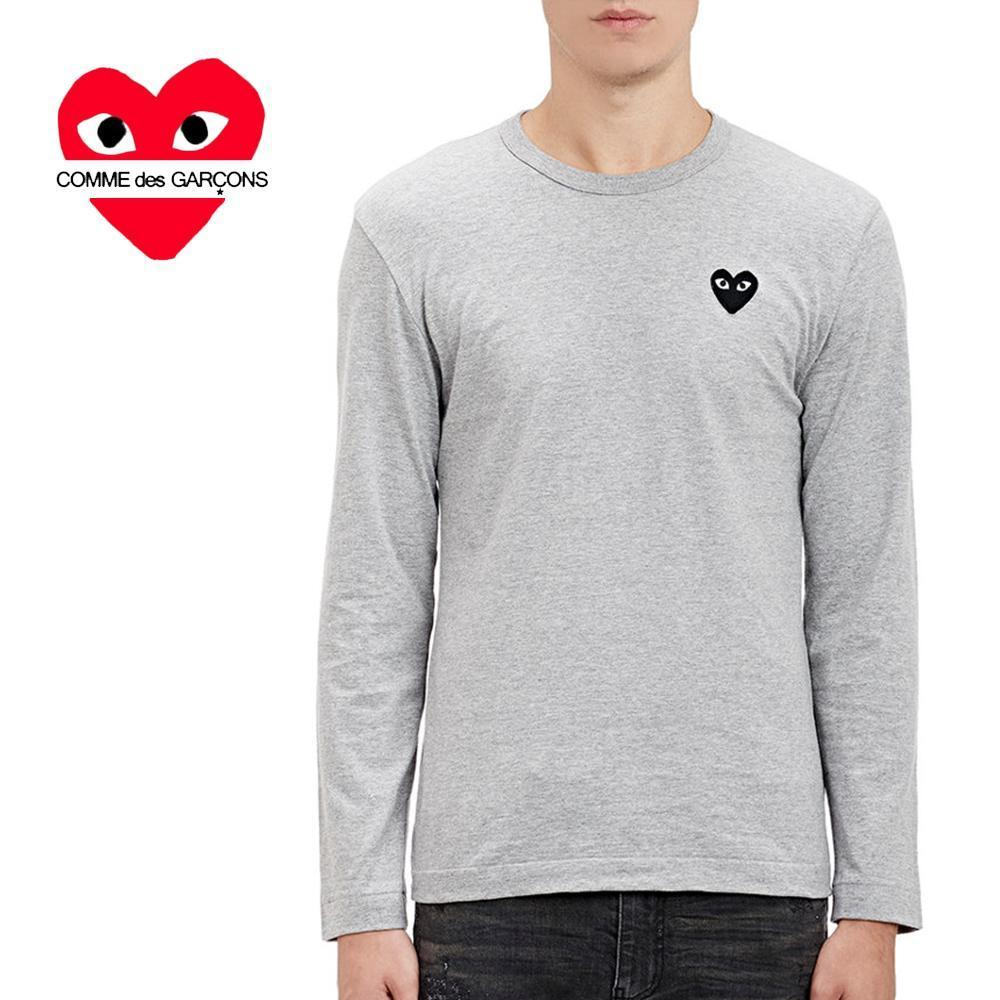 COMME des GARCONS PLAYハートパッチ長袖Tシャツ/灰☆関税込☆