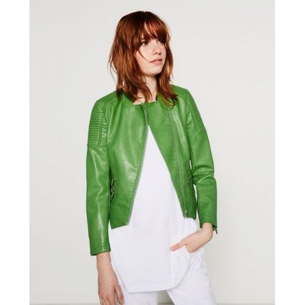 Breath artificial leather riders jacket coat