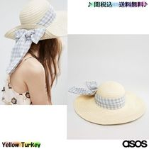 ASOS(エイソス) ストローハット ★人気 ASOS Floppy Straw Hat With Gingham Band 送料無料★