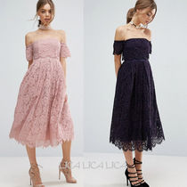 国内発送ASOS Off the Shoulder Lace Prom Midi Dress