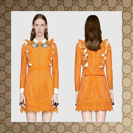 ☆17CRUISE☆ GUCCI Broderie Anglaise cotton dress