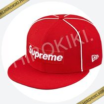 17SS★Supreme Box Logo Piping New Era Cap ニューエラ 赤