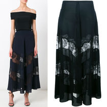 17SS SM348 SHEER LACE PANEL INSET LONG SKIRT