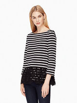 SALE! kate spade/ lace flounce stripe top★レースxフリル★