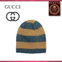GUCCI(グッチ) ハット ★2017新作★Knitted metallic striped beanie hat