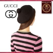 GUCCI(グッチ) ベレー帽 ★2017新作★Pompom knitted beret