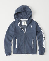 【送料無料】Abercrombie & Fitch logo graphic full-zip hoodie