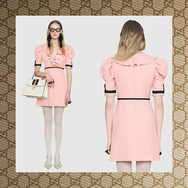 ☆ GUCCI Crepe silk wool dress