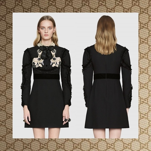 ☆17CRUISE☆ GUCCI Crepe silk wool dress