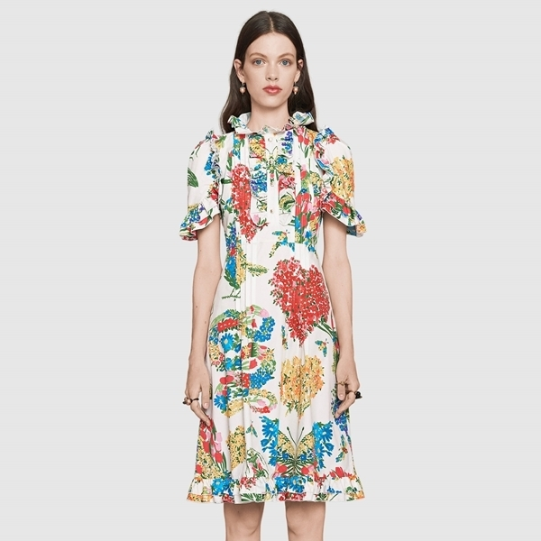 ☆17CRUISE☆ GUCCI Corsage print cotton dress