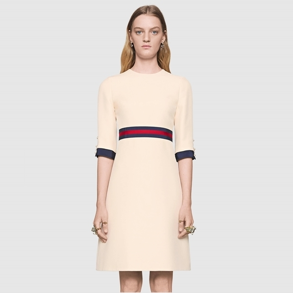 ☆ GUCCI Wool silk Web dress