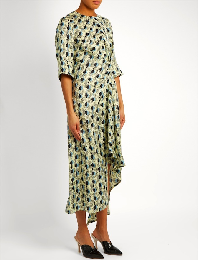 17SS M276 GARLAND PRINT SILK DRAPED DRESS