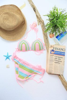 ビキニ Knit Cup-in Stripe Bikini《PINK》No.50