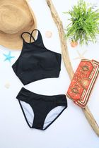 High-neck Sports Bikini《BLACK》No.47