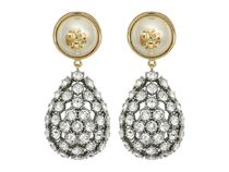 Tory Burch(トリーバーチ) イヤリング・ピアス Crystal Pearl Statement Earrings Ivory/Tory Gold▽送料関税込