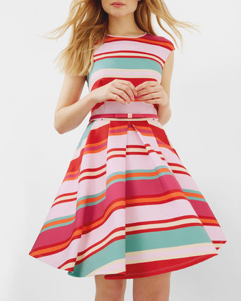 SS17★TED BAKER★ボーダースケーターワンピース ピンク