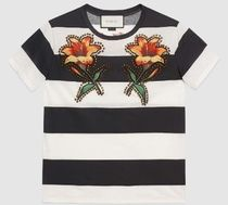 GUCCI 人気!Striped embroidered cotton Tシャツ★国内発送