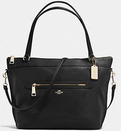 Coach マザーズバッグ 国内即発★【COACH】TYLER TOTE IN PEBBLE LEATHER BLK