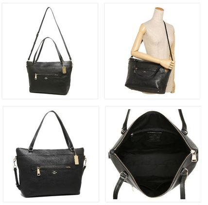 Coach マザーズバッグ 国内即発★【COACH】TYLER TOTE IN PEBBLE LEATHER BLK(2)