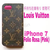 即発可★Monogram【送込・Louis Vuitton】iphone7 FOLIO★ローズ