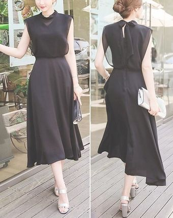 Back Ribbon chiffon flare Maxi dress