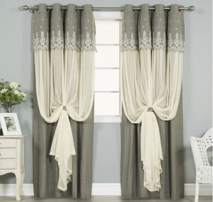 Shabby chic style two pile curtain shade type