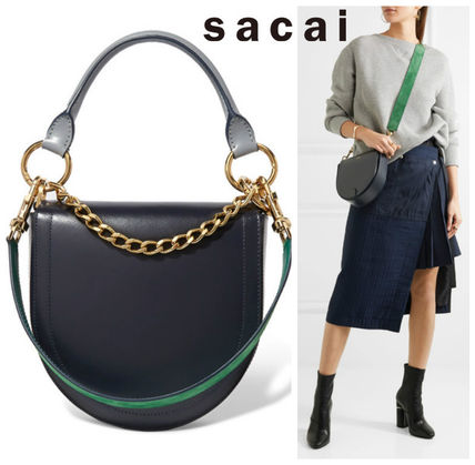 SACAI Sakai Horseshoe leather shoulder bag Navy