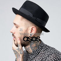 ASOS(エイソス) ハット 国内送関込★ASOS★ Pork Pie Hat with Pinched Crown in Black