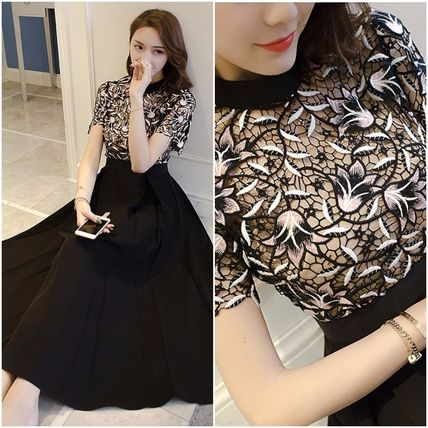 lace chiffon dress with high neck medium hollow embroidery