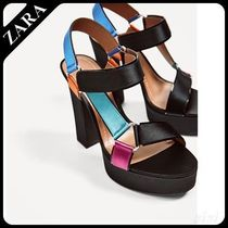 ★ZARA★ザラ  MULTICOLOURED SATIN PLATFORM SANDALS