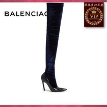 BALENCIAGA(バレンシアガ) ロングブーツ ★2017新作★Boudoir over-the-knee velvet and leather boots