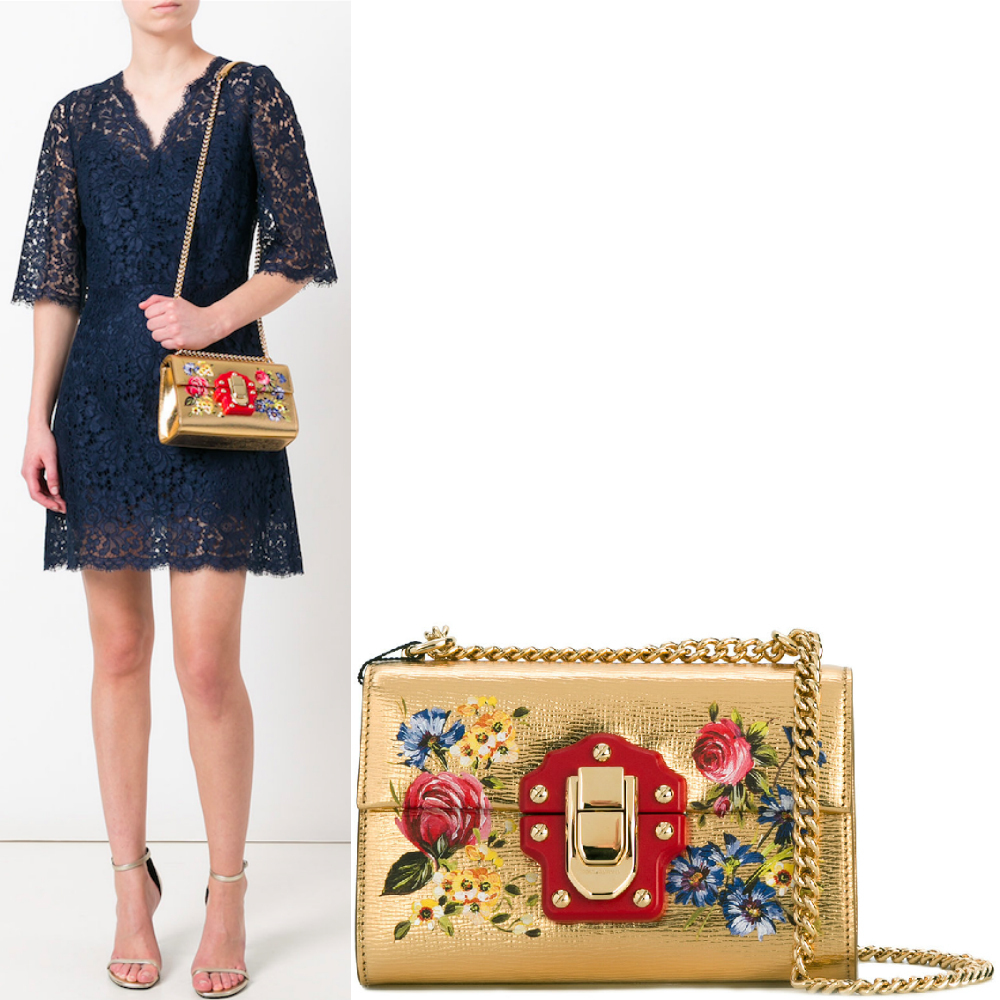 17SS DG1032 ROSE PRINTED LUCIA SMALL BAG WITH CHAIN STRAP