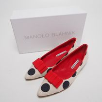 【Manolo Blahnik】TORINABI CANVAS DOT FLATS[RESALE]