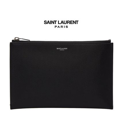 Transfer into SAINT LAURENT embossed leather clutch bag