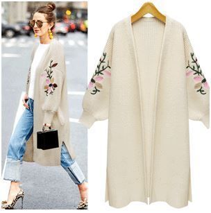 Flower embroidered balloon sleeve cardigan feed into new